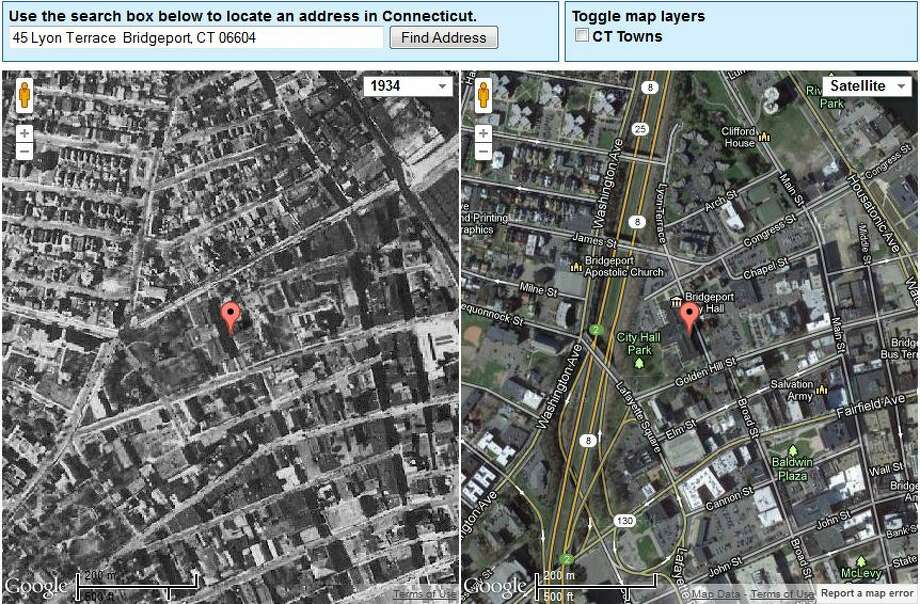 Bridgeport's City Hall in 1934 is on the left. The current view is on the right.  The image was created using UConn's MAGIC tool, which you can access here. http://magic.lib.uconn.edu/mash_up/1934.html Photo: Gordon, Maggie