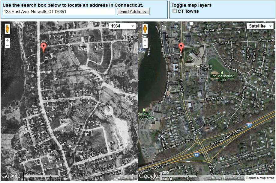 Norwalk's City Hall in 1934 is on the left. The current view is on the right.  The image was created using UConn's MAGIC tool, which you can access here. http://magic.lib.uconn.edu/mash_up/1934.html Photo: Gordon, Maggie