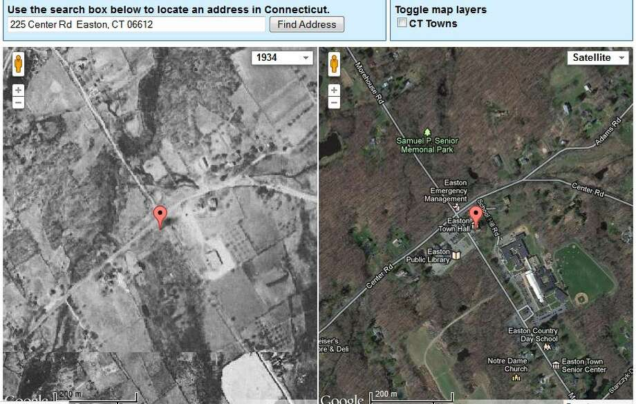Easton's Town Hall in 1934 is on the left. The current view is on the right.  The image was created using UConn's MAGIC tool, which you can access here. http://magic.lib.uconn.edu/mash_up/1934.html Photo: Gordon, Maggie