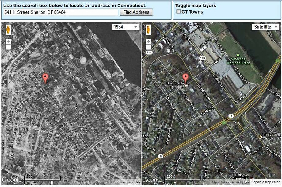Shelton's Town Hall in 1934 is on the left. The current view is on the right.  The image was created using UConn's MAGIC tool, which you can access here. http://magic.lib.uconn.edu/mash_up/1934.html Photo: Gordon, Maggie