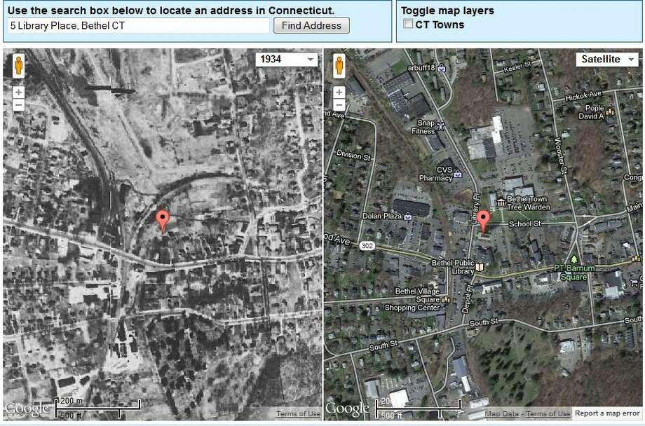 Bethel's Town Hall in 1934 is on the left. The current view is on the right.  The image was created using UConn's MAGIC tool, which you can access here. http://magic.lib.uconn.edu/mash_up/1934.html Photo: Gordon, Maggie