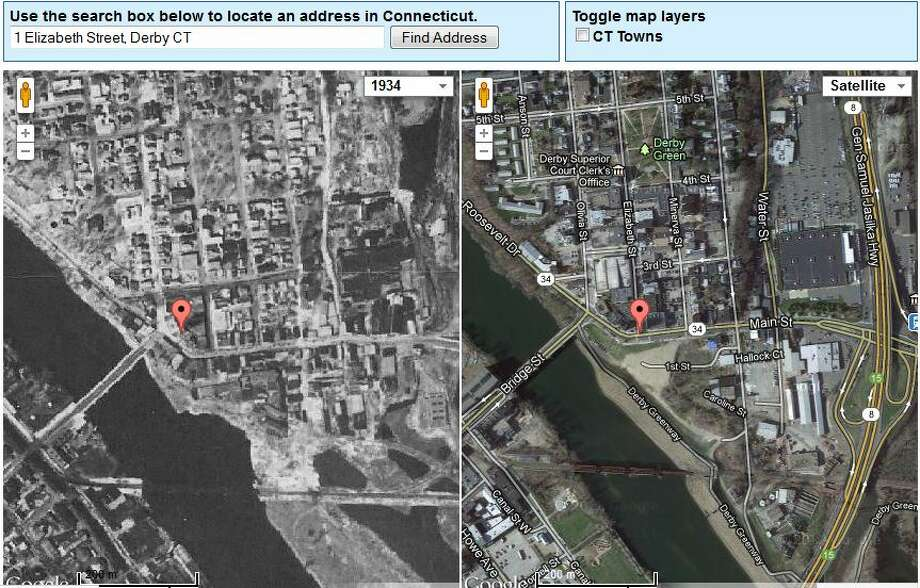 Derby's Town Hall in 1934 is on the left. The current view is on the right.  The image was created using UConn's MAGIC tool, which you can access here. http://magic.lib.uconn.edu/mash_up/1934.html Photo: Gordon, Maggie