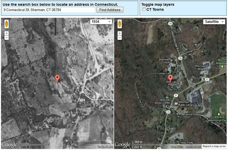 Sherman's Town Hall in 1934 is on the left. The current view is on the right.  The image was created using UConn's MAGIC tool, which you can access here. http://magic.lib.uconn.edu/mash_up/1934.html Photo: Gordon, Maggie