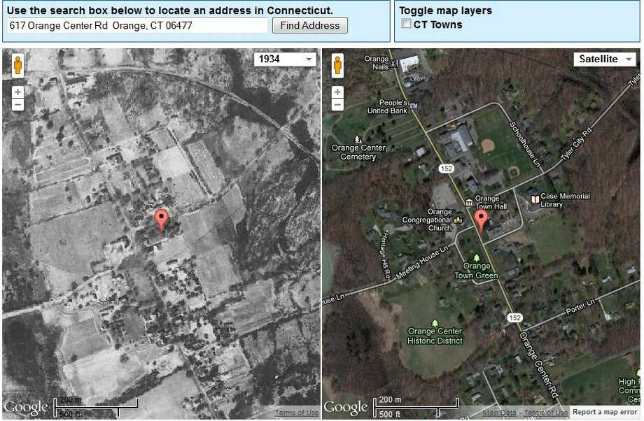 Orange's Town Hall in 1934 is on the left. The current view is on the right.  The image was created using UConn's MAGIC tool, which you can access here. http://magic.lib.uconn.edu/mash_up/1934.html Photo: Gordon, Maggie