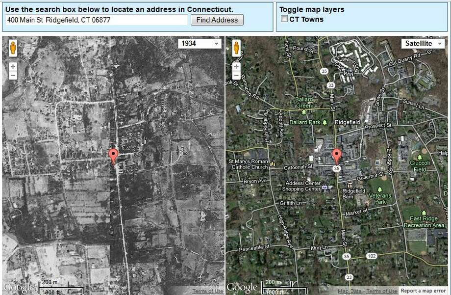 Ridgefield's Town Hall in 1934 is on the left. The current view is on the right.  The image was created using UConn's MAGIC tool, which you can access here. http://magic.lib.uconn.edu/mash_up/1934.html Photo: Gordon, Maggie