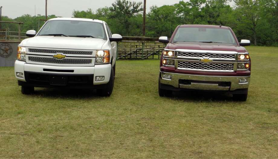 How to tell a 2013 Chevrolet Silverado, left, from the 2014 that's coming soon. Higher-end models like the LTZ and High Country will have standard projector-beam headlights.