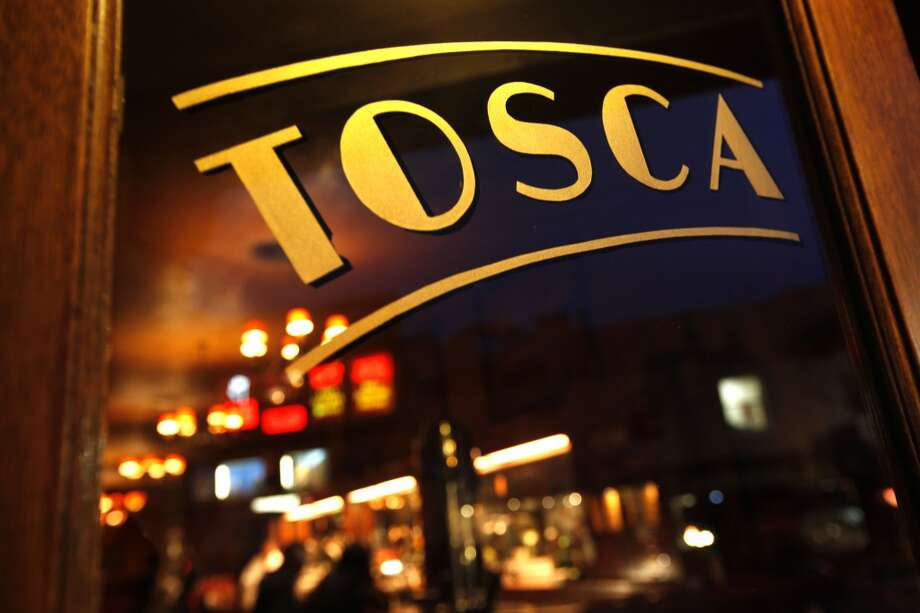 The front doors of the historic Tosca Cafe.