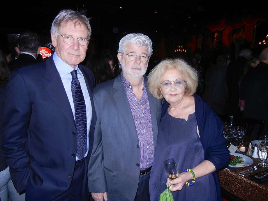 Actor-honoree Harrison Ford (left) with filmmaker George Lucas and Tosca Cafe's Jeannette Etheredge at Bimbo's 365 Club for the Film Society Awards Night during 56th San Francisco International Film Festival.