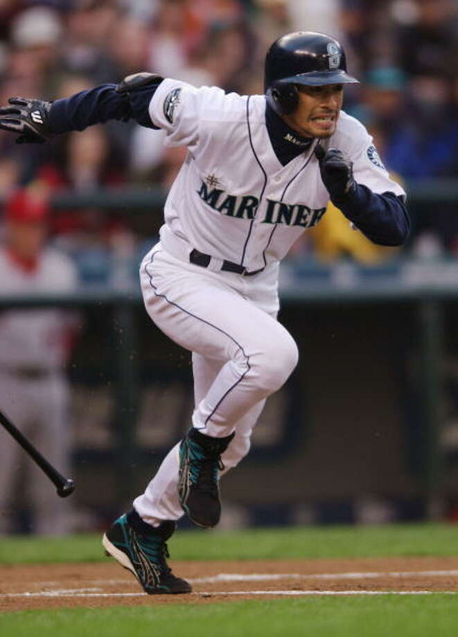 2002:Two games with 16 runsApril 22 – Anaheim Angles 5, at Mariners 16First baseman Jeff Cirillo hit two homers; Bret Boone, Ruben Sierra and Mark McLemore each added their own longballs; and Ichiro Suzuki tripled in this big win.   Sept. 8 – Mariners 15, at Kansas City Royals 9 (11 innings)  This was a hard-fought game, with the teams tied 9-9 after nine innings. But in the 11th, the M's scored eight runs to put it away. Mike Cameron, Edgar Martinez, John Olerud each homered; Ben Davis hit a grand slam in the 11th; Desi Relaford hit two doubles; and Bret Boone stole two bases.  Photo: Otto Greule Jr, Getty Images / Getty Images