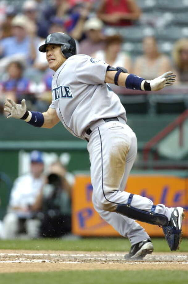 2008: Two games with 12 runs  May 12 – Mariners 12, at Texas Rangers 13 (10 innings)  The M's scored five in the first, then let the Rangers fight back and take a 10-6 lead after seven innings. On homers by Raul Ibanez, Kenji Johjima and Wladimir Balentien, the M's forced extra innings when they tied it in the ninth at 12 runs -- but the Rangers prevailed in the 10th.   Sept. 1 – Mariners 12, at Texas Rangers 6  The M's got their revenge later in the season, tallying 20 hits in this largely one-sided game. Yuniesky Betancourt homered once and doubled twice, Adrian Beltre was just a single short of the cycle, and Miguel Cairo was hit twice by pitches.  Photo: John Williamson, MLB Photos Via Getty Images / 2008 John Williamson