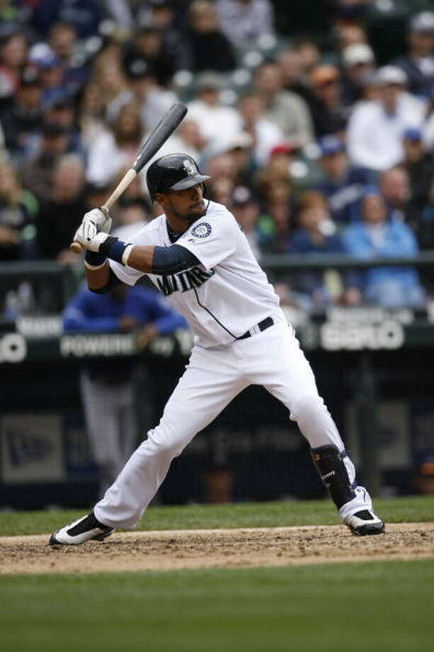 2010: May 21 – San Diego Padres 8, at Mariners 15  Both teams had 15 hits, but the M's were more efficient. Seattle's Mike Sweeney hit two home runs and went 4-for-5 with six RBI. Josh Bard had a dinger and a double, and Franklin Gutierrez and Josh Wilson also doubled in this big victory.  Photo: Ben VanHouten, MLB Photos Via Getty Images / 2010 MLB Photos