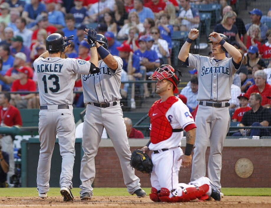 2012: May 30 – Mariners 21, at Texas Rangers 8  Justin Smoak was 3-for-5 with two three-run home runs, a double and six RBI. Dustin Ackley and Jesus Montero each had dingers of their own, and the M's also got doubles from Ackley, Smoak, Kyle Seager (two of them), Montero and Michael Saunders (two).  Photo: Rick Yeatts, Getty Images / 2012 Getty Images