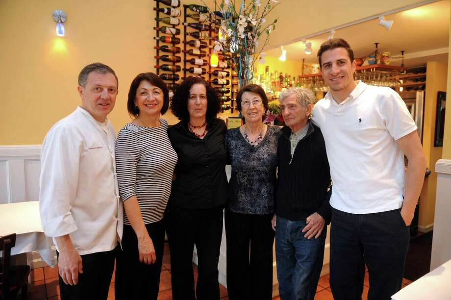 The family from left: Neil Vitiello, brother, Ester Vitiello, Manny Fox, Libera Stimma, sisters, Salvatore Stimma, father, and Michael Stimma, son, owners at Villa Italia, in Stamford, Conn., Wednesday, May 15, 2013. Photo: Helen Neafsey / Greenwich Time