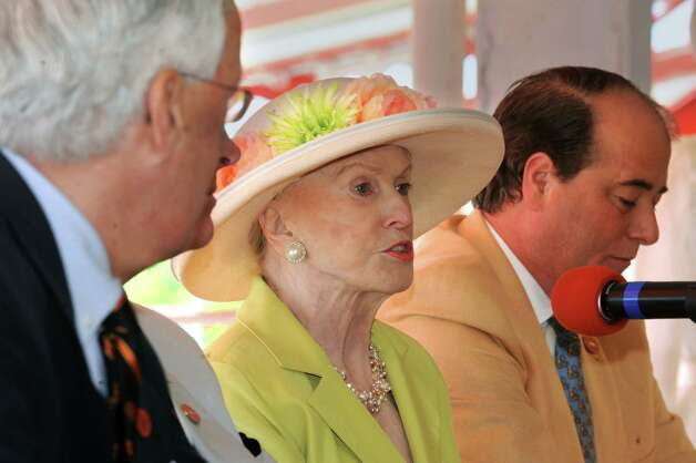 Marylou Whitney speaks during a press conference celebrating the 150 years of the Saratoga Race Course at the track on Thursday, May 16, 2013 in Saratoga Springs, N.Y. Committee Honorary Chairs and Chairman held the news conference to announce final, detailed plans for Saratoga?s five-month-long celebration. (Lori Van Buren / Times Union) Photo: Lori Van Buren / 10022450A