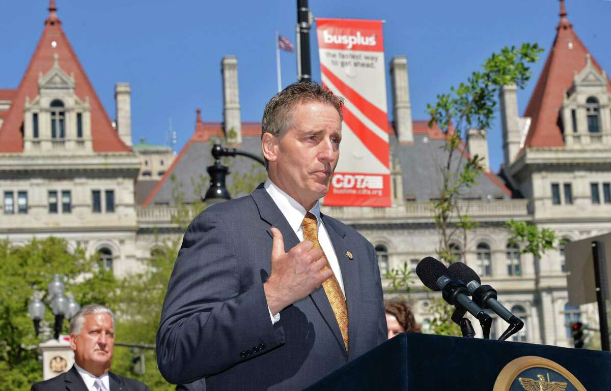 NYS Lt. Gov. Robert Duffy speaks during the announcement of the first tenants of a new building at Wellington Row on State Street in Albany, NY Thursday May 16, 2013. (John Carl D'Annibale / Times Union)