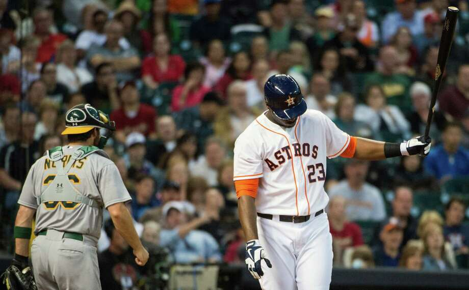 Chris Carter and other players serving as the Astros' designated hitter in the club's first American League season are struggling to get untracked, hitting only .203 with three home runs and 14 RBIs. Photo: Smiley N. Pool / © 2013  Smiley N. Pool