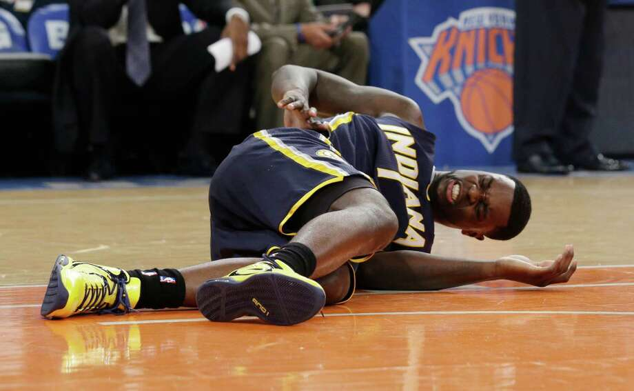 Indiana Pacers' Lance Stephenson lies on the court in the first half of Game 5 of an Eastern Conference semifinal in the NBA basketball playoffs against the New York Knicks, at Madison Square Garden in New York, Thursday, May 16, 2013. Photo: Julio Cortez