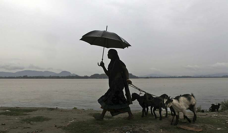 An Indian woman leads her goats by the banks of the River Brahmaputra as dark clouds hover over in Gauhati, India, Thursday, May 16, 2013. Cyclone Mahasan weakened Thursday afternoon into a tropical storm and then dissipated, causing far less damage than had been feared as it passed over neighboring Bangladesh and spared Myanmar almost entirely, meteorological officials said.  Photo: Anupam Nath, Associated Press