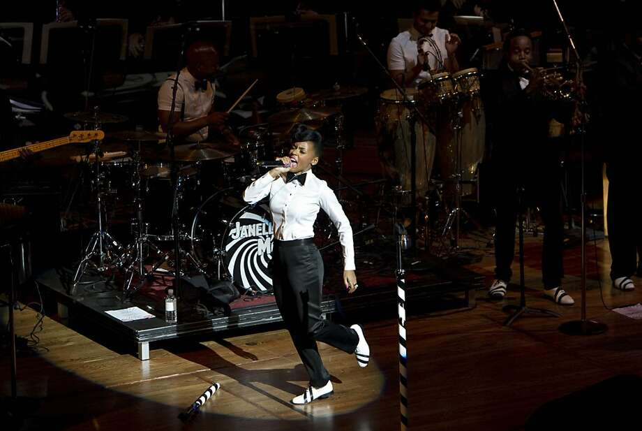 Janelle Monáe performs with the San Francisco Symphony during the symphony's inaugural Spring Gala at Davies Symphony Hall in San Francisco, Calif., on Thursday, May 16, 2013. Photo: Laura Morton, Special To The Chronicle