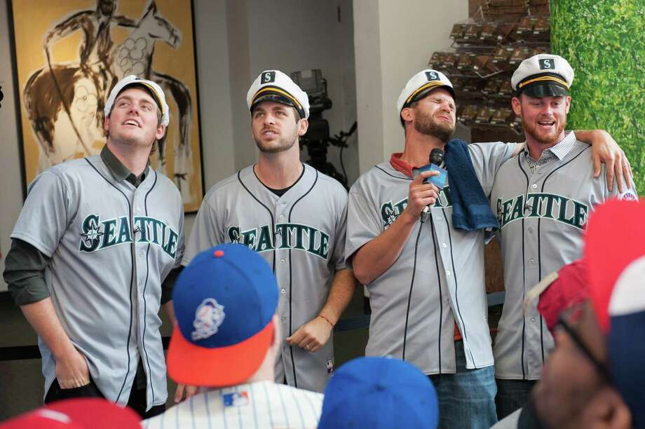 Brandon Maurer, Lucas Luetge, Tom Wilhelmsen and Charlie Furbush of the Seattle Mariners sing karaoke together while filming a sketch. Photo: Thomas Levinson, MLB Photos Via Getty Images / 2013 Major League Baseball Photos