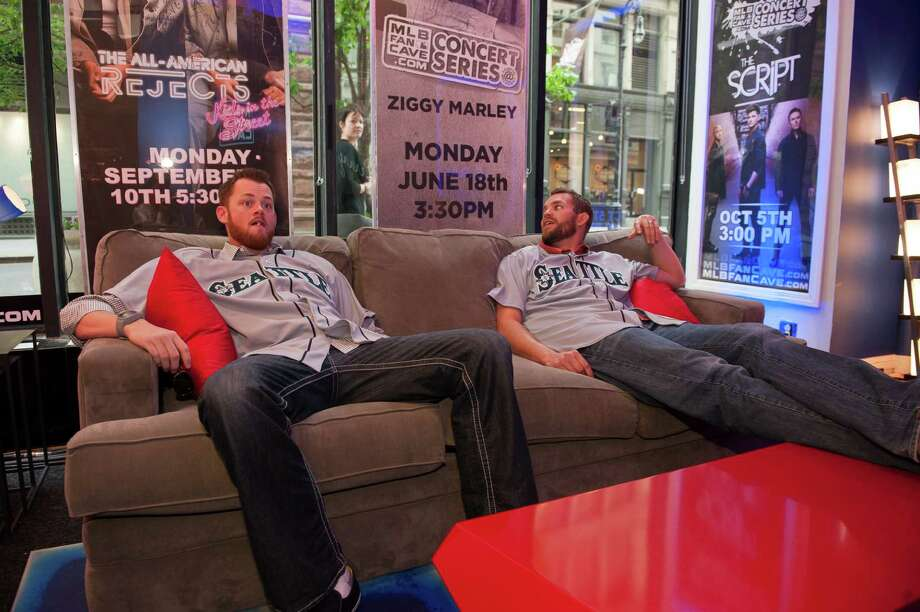 Charlie Furbush and Tom Wilhelmsen of the Seattle Mariners hang out in the Vault. Photo: Thomas Levinson, MLB Photos Via Getty Images / 2013 Major League Baseball Photos