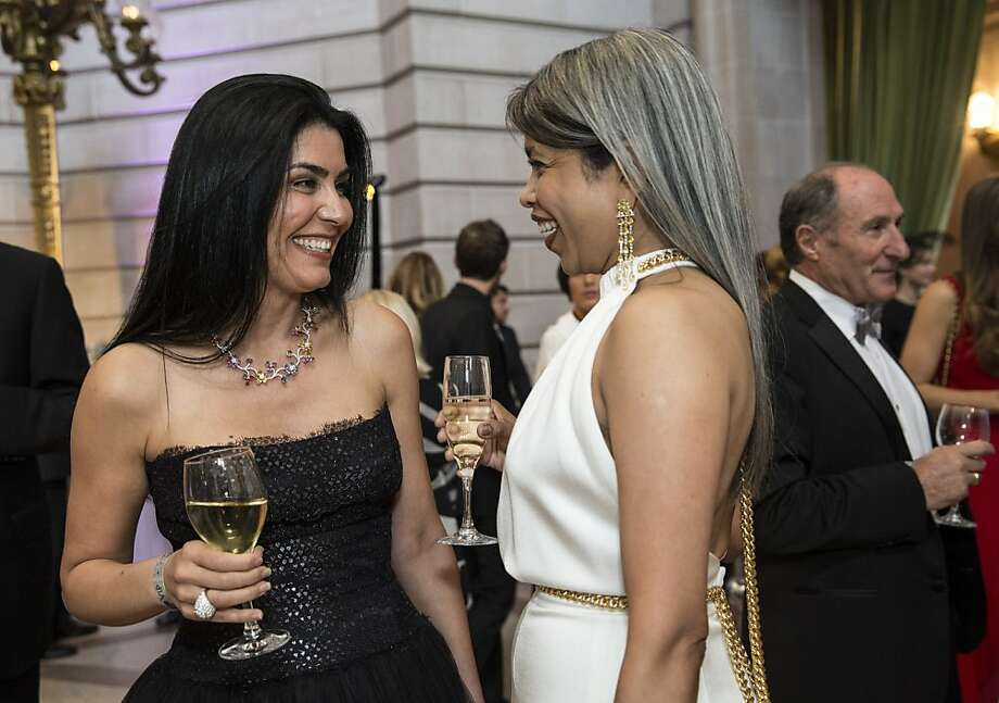 Afsaneh Akhtari (left) talks with Deepa Pakianathan while attending the cocktail hour of the San Francisco Symphony's inaugural Spring Gala at City Hall in San Francisco, Calif., on Thursday, May 16, 2013. Photo: Laura Morton, Special To The Chronicle