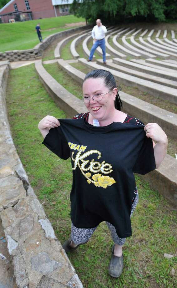 Danielle Norman models her new Kree shirt. The City of Woodville hosted a Kree Harrison watch party Thursday night at the Joe Wheat Dogwood Amphitheater in downtown Woodville. Upwards of 150 people sat on concrete, chairs, and blankets to enjoy the two hour season finale of American Idol  Dave Ryan/The Enterprise Photo: Dave Ryan
