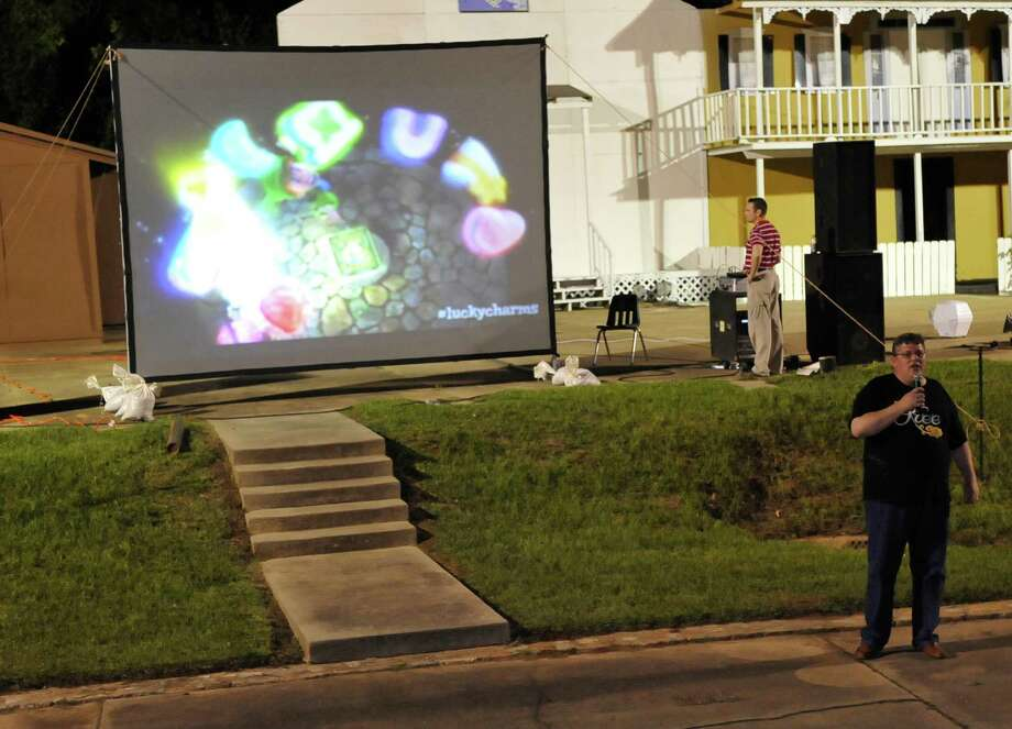 Woodville Mayor Ben Bythewood, asks if everyone was ready to hear the winner and led the crowd in a Kree cheer.  The City of Woodville hosted a Kree Harrison watch party Thursday night at the Joe Wheat Dogwood Amphitheater in downtown Woodville. Upwards of 150 people sat on concrete, chairs, and blankets to enjoy the two hour season finale of American Idol  Dave Ryan/The Enterprise Photo: Dave Ryan