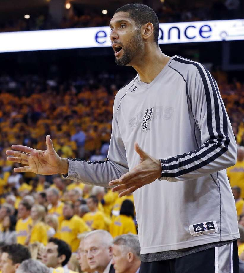San Antonio Spurs' Tim Duncan reacts after a play during second half action of Game 6 in the NBA Western Conference semifinals against the Golden State Warriors Thursday  May 16, 2013 at Oracle Arena in Oakland, CA. The Spurs won 94-82.