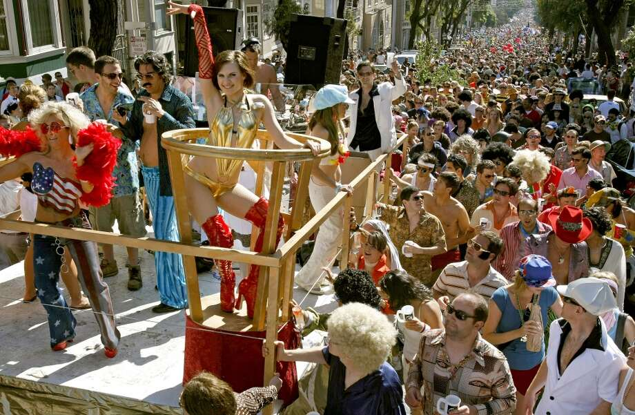 "The float, ""Disco to Breakers"", joined numerous others as they climbed Hayes St. Hill, during the 97th Bay to Breakers on May 18, 2008. Photo: Michael Macor, The Chronicle"