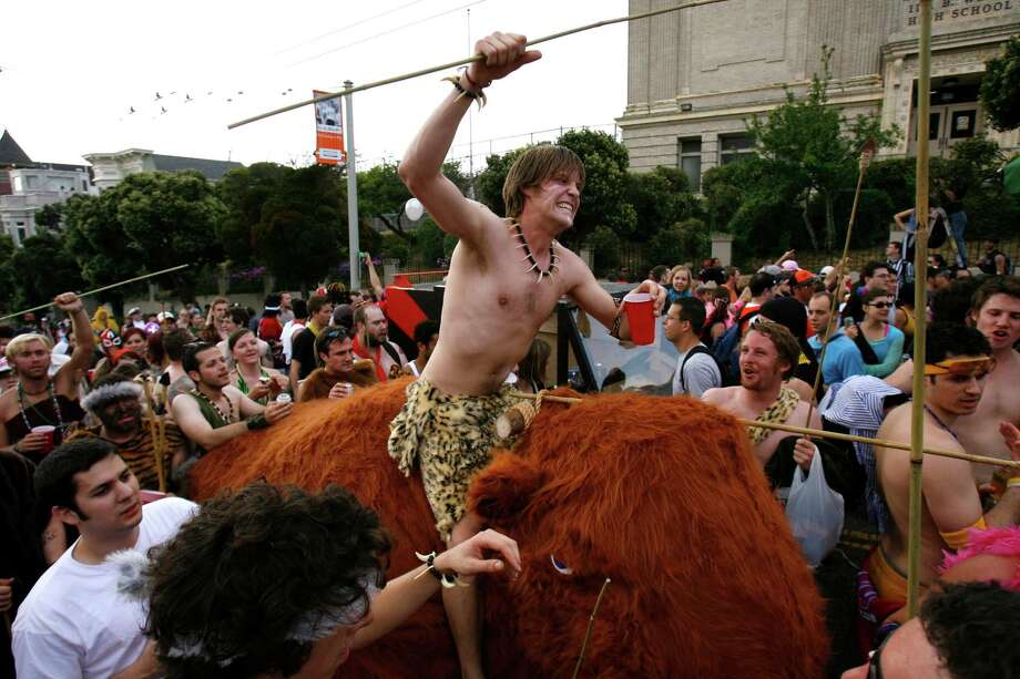 Chris Ahlgren of San Francisco rides a wooly mammoth during the Bay to Breakers race near the top of the Hayes Street hill. The 95th annual running of the Bay to Breakers took place on Sunday, May 21, 2006. Photo: Carlos Avila Gonzalez, SFC / The Chronicle