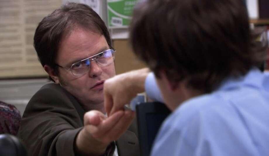 8. Jim = Pavlov. Dwight = dog. Watch here: [http://bit.ly/10BicwK]