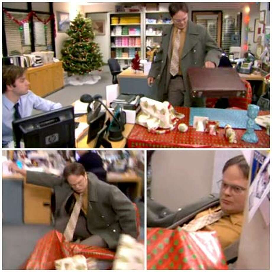 5. And speaking of desks:   Wrapping paper + desk – desk= successful prank.