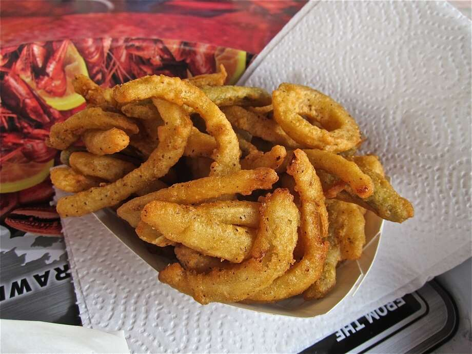 """""""Texas Toothpicks"""" (onion and jalapeño  slivers) at Carlos Beer Garden."""