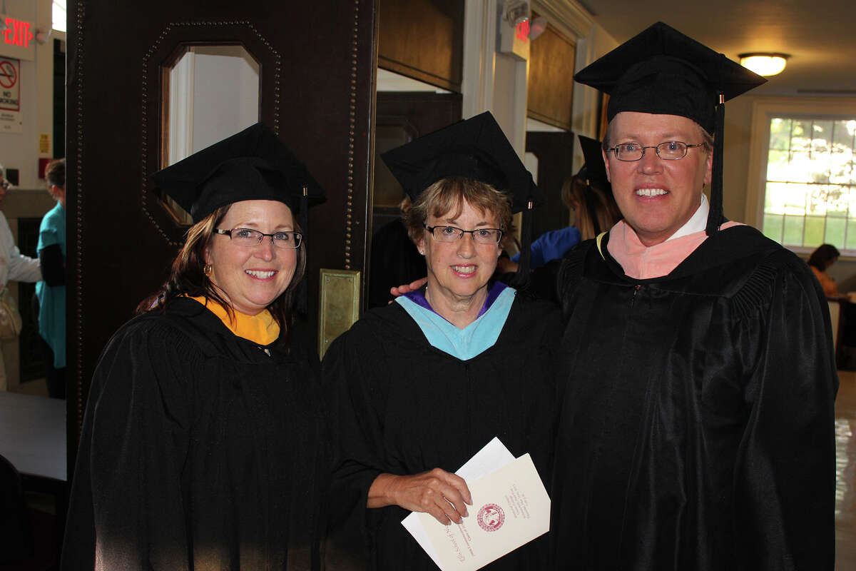 From left, Cece Lynch, vice president of nursing and chief nursing officer at Ellis Medicine; Deborah Mullaney, chair of the Ellis Medicine Board of Trustees; and Paul Milton, executive vice president and chief operating officer, Ellis Medicine, at the Ellis School of Nursing class of 2013 graduation ceremony on Thursday, May 16, 2013. (Provided photo)