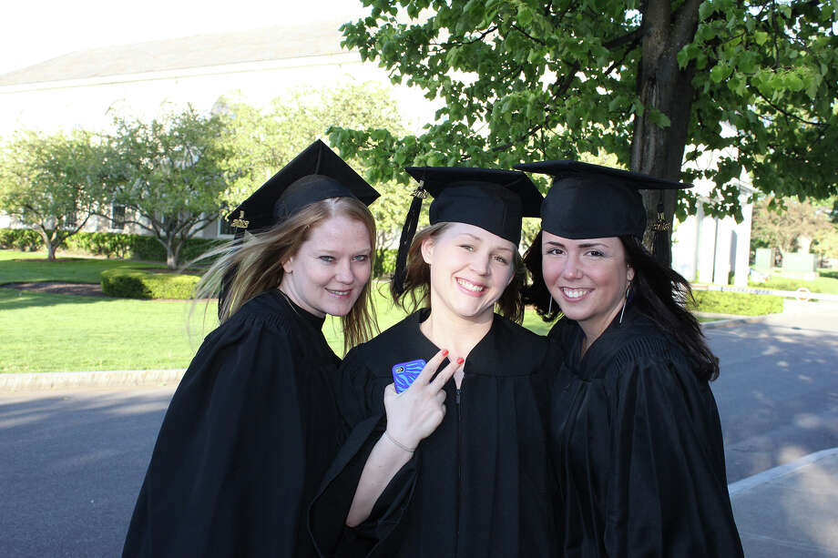 Ellis School of Nursing graduates, from left, Marianne Marx, Melissa L. Hafez and Emily Herman, at the class of 2013 graduation ceremony on Thursday, May 16, 2013. (Provided photo)