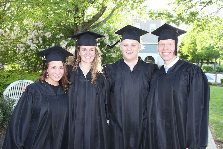 Ellis School of Nursing graduates, from left, Meghan Kelly, Abby Nelson, Michael Dobert and David Holt, at the class of 2013 graduation ceremony on Thursday, May 16, 2013. (Provided photo)