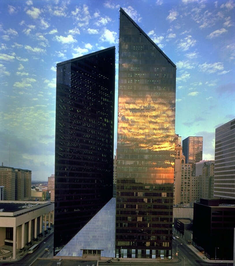 Pennzoil PlaceWhat Fox said: The Houston building, which was built in 1976,  changed the course of high-rise building design in Texas, the U.S., and ultimately internationally. It was designed by NYC architects Philip Johnson and John Burgee for Houston developer Gerald D. Hines.Texas architecture stars in new book Photo: Unknown, File / handout email