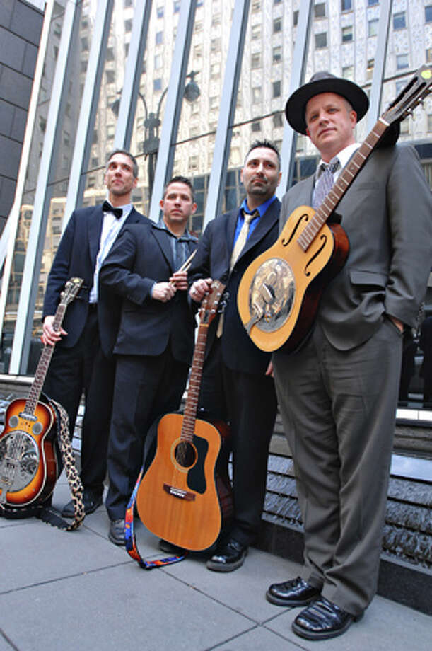 The Shiny Lapel Trio, a swing and jazz, will perform outside Bobby Q's BBQ & Grill in Westport at Art About Town on Thursday, May 23. Photo: Contributed Photo