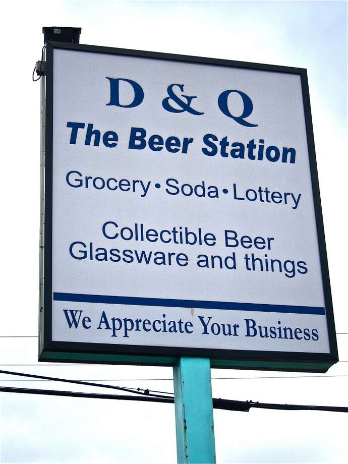 The sign at D&Q Beer Station, a serious beer shop opposite Chapultepec restaurant on Richmond Ave.