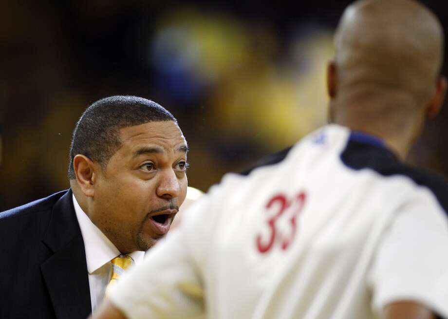 Head Coach Mark Jackson reacts to an officials call in the second half.  The Golden State Warriors played the San Antonio Spurs in Game 6 of the Western Conference Semifinals at Oracle Arena in Oakland, Calif., on Thursday, May 16, 2013, losing 94-82.