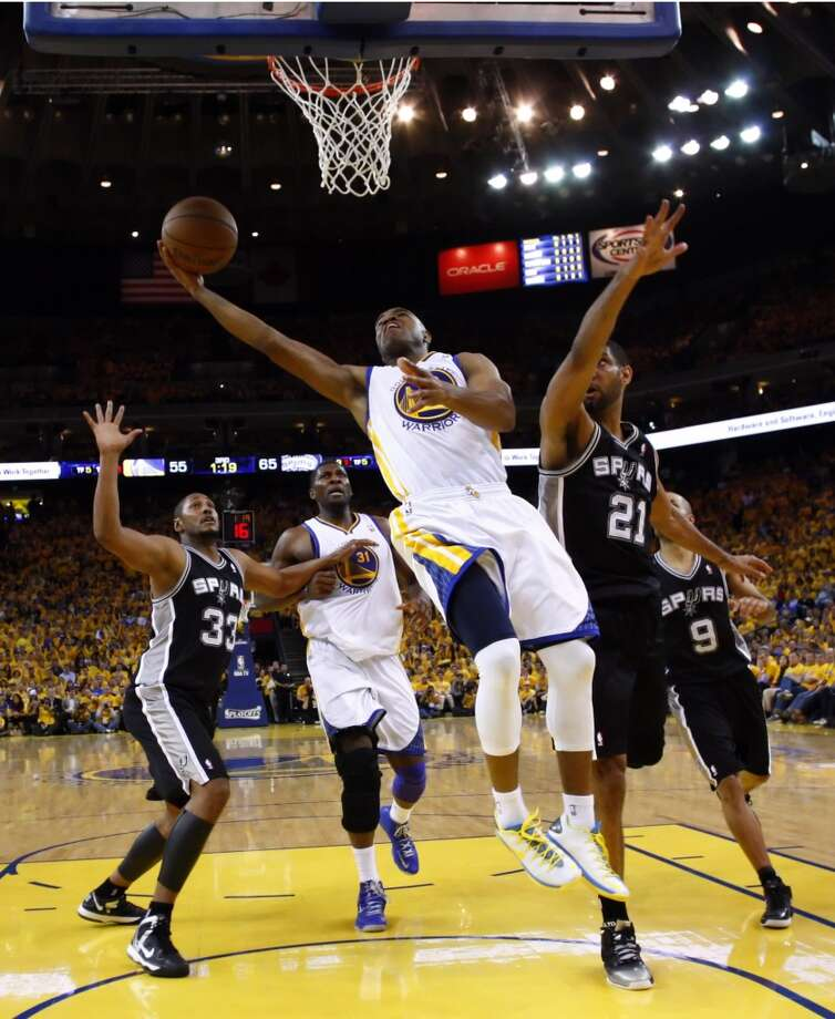Jarrett Jack (2) drives to the basket in the second half.  The Golden State Warriors played the San Antonio Spurs in Game 6 of the Western Conference Semifinals at Oracle Arena in Oakland, Calif., on Thursday, May 16, 2013, losing 94-82.