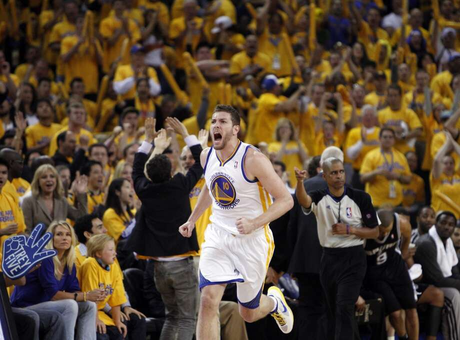 David Lee reacts to a turnover that went the Warriors' way in the second half.  The Golden State Warriors played the San Antonio Spurs in Game 6 of the Western Conference Semifinals at Oracle Arena in Oakland, Calif., on Thursday, May 16, 2013, losing 94-82.