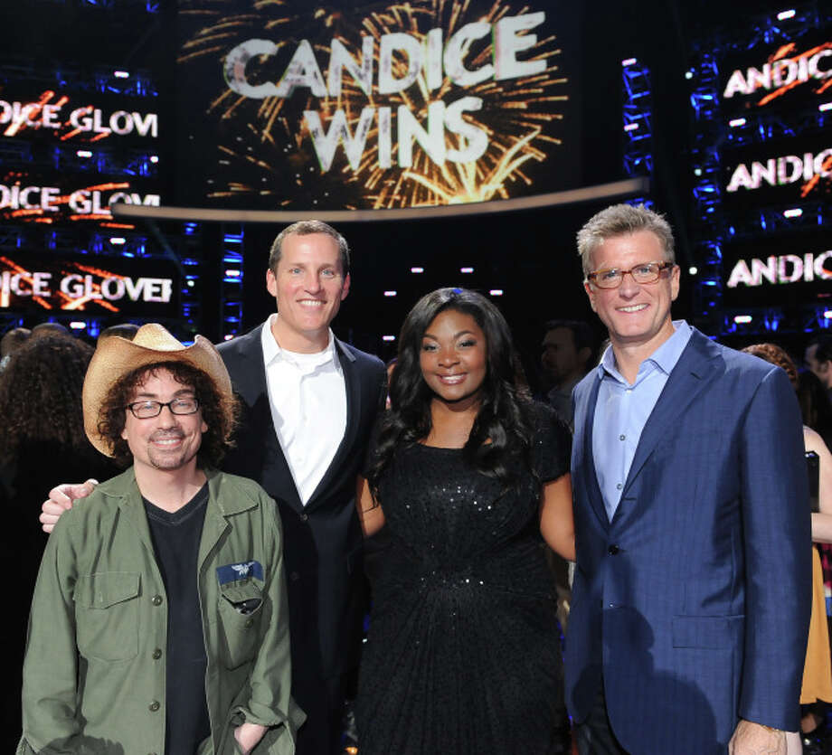 AMERICAN IDOL: (L-R) FOX President of Alternative Entertainment Mike Darnell, FOX Chief Operating Officer Joe Earley, AMERICAN IDOL Season 12 winner Candice Glover and FOX Chairman of Entertainment Kevin Reilly during the season 12 AMERICAN IDOL GRAND FINALE at the Nokia Theatre on Thursday. May 16, 2013 in Los Angeles, California.  CR: Ray Mickshaw/FOX