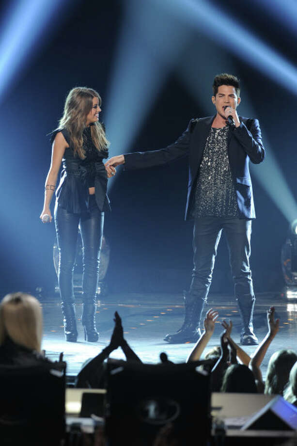 AMERICAN IDOL: Finalist Angie Miller performs with Adam Lambert during the  season 12 AMERICAN IDOL GRAND FINALE at the Nokia Theatre on Thursday. May 16, 2013 in Los Angeles, California.  CR: Ray Mickshaw/FOX