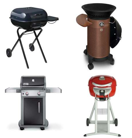 Clockwise from upper left: Lowe's Aussie Walk-A-Bout charcoal  grill; Fuego Element portable gas grill; Lowe's Char-Broil 1750-watt electric grill; Lowe's Weber Spirit two-burner gas grill. Photo: Courtesy Photos
