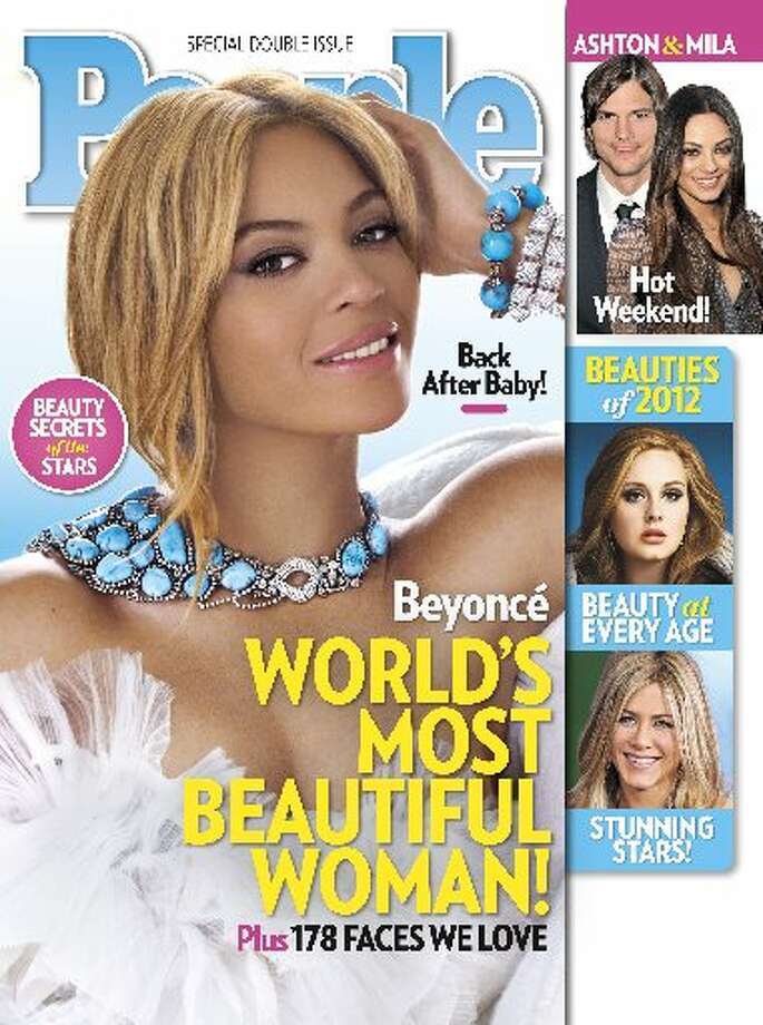 """In this cover image released by People, singer Beyonce graces the cover of People magazine's special issue naming her the World's Most Beautiful Woman for 2012. The 30-year-old singer tops the magazine's annual list of the """"World's Most Beautiful"""" in a special double issue."""