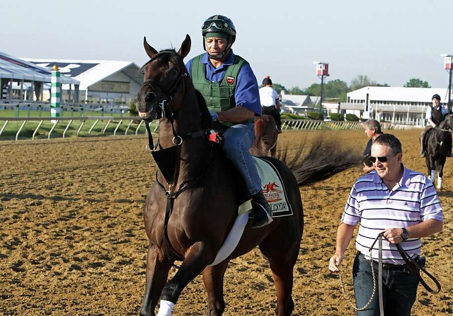 Preakness Stakes entrant Itsmyluckyday gets frisky as exercise rider Peter Shelton takes him to track at Pimlico Race Course Friday, May 17, 2013 in Baltimore. At right is trainer Eddie Plesa Jr.  Photo: Garry Jones, Associated Press