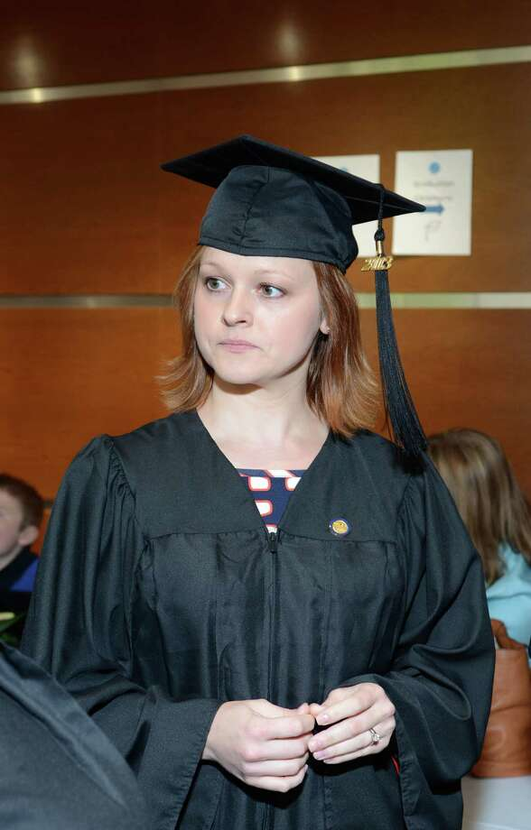 Joanna Tylutki, of Milford, during the twenty-first annual commencement ceremony of St. Vincent's College at the Arnold Bernhard Center at the University of Bridgeport campus on Friday, May 17, 2013. Photo: Amy Mortensen / Connecticut Post Freelance