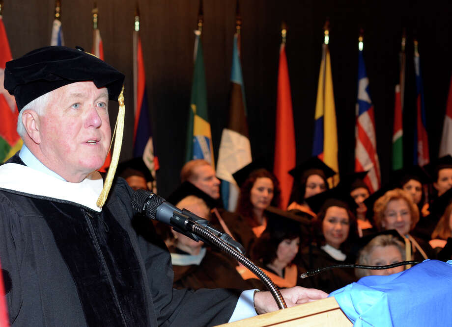 Honorary Degree Recipient, Chuck Mattes, speaks to the graduates during the twenty-first annual commencement ceremony of St. Vincent's College at the Arnold Bernhard Center at the University of Bridgeport campus on Friday, May 17, 2013. Photo: Amy Mortensen / Connecticut Post Freelance